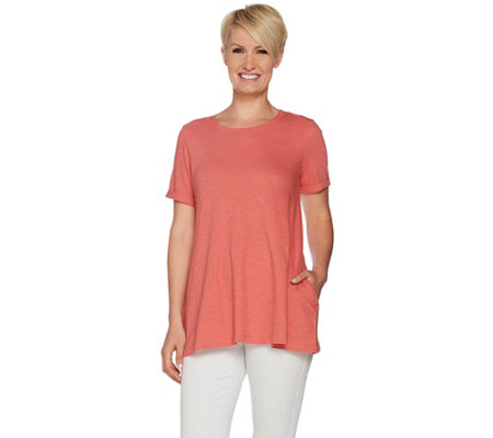 LOGO by Lori Goldstein Cotton Slub Knit Top with Rolled Sleeves