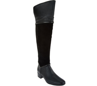 """As Is"" H by Halston Leather & Suede Over-the-knee Boots - Kora - A291302"