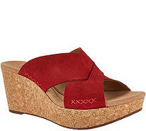 Clarks Leather Cross Band Wedge Slides - Annadel Danae - A291402