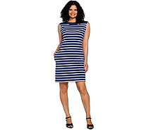 Denim & Co. Striped Boat Neck Dress - A292502
