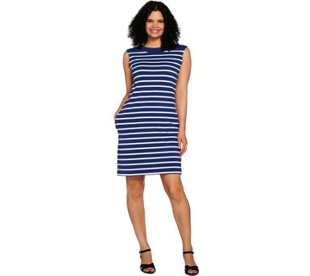 Denim & Co. Striped Boat Neck Dress