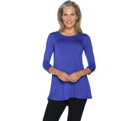 LOGO by Lori Goldstein 3/4 Sleeve Solid Swing Top with Pockets