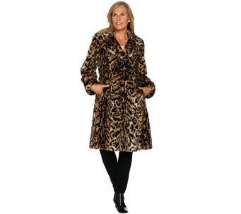 """As Is"" Dennis Basso Platinum Collection Faux Fur Knee Length Coat - A293402"