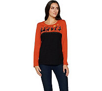 Quacker Factory Shadow Motif Color-Blocked Long Sleeve Knit Top - A294002