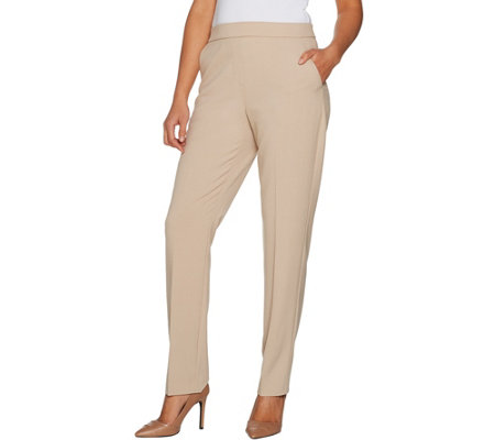 Susan Graver Petite Chelsea Stretch Straight Leg Pull-On Pants