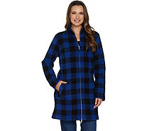 Denim & Co. Regular Plaid Sherpa Lined Fleece 2-Way Zip Up Jacket - A299202