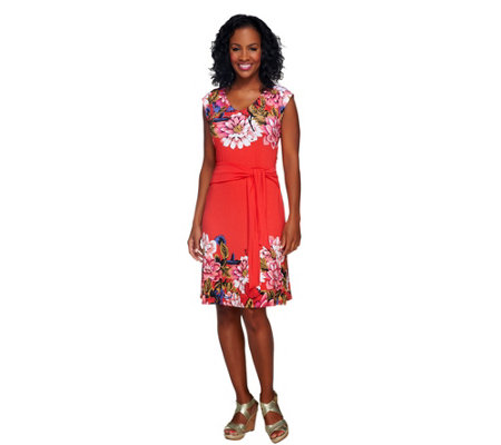 """As Is"" Isaac Mizrahi Live! Sleeveless Floral Printed Knit Dress"