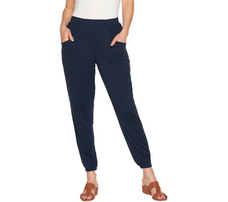 H by Halston Regular Ankle Length Jogger Pants w/ Seam Detail