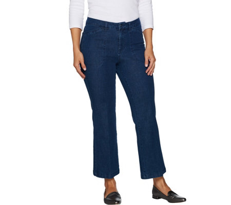 """As Is"" Isaac Mizrahi Live! 24/7 Denim Regular Flare Ankle Jeans"