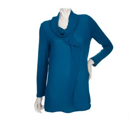 K-DASH by Kardashian Drape Front Tunic with Cowl Neck