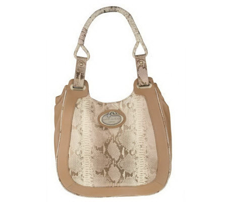 Malini Murjani Metallic Printed Python w/Nappa Leather Trim Hobo Bag