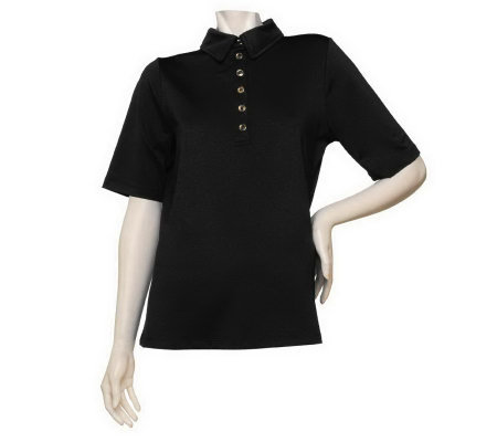 Susan Graver Butterknit Top with Gold-toned Buttons