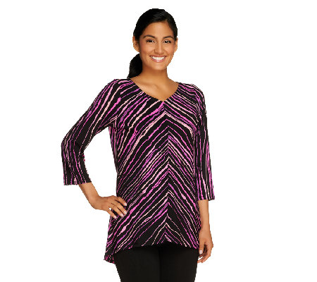 Bob Mackie's PainterlyStripe V-Neck Top with Hi-Low Hem