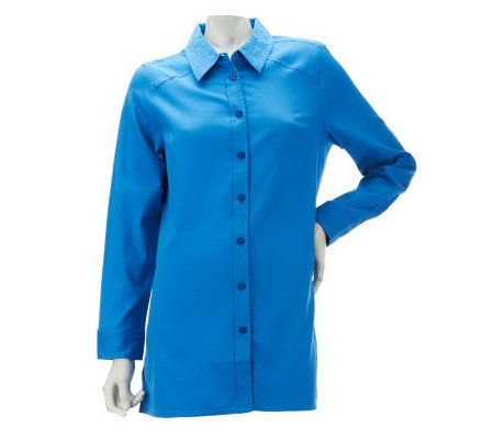 Denim & Co. Long Sleeve Button Front Tunic Shirt w/ Embroidery