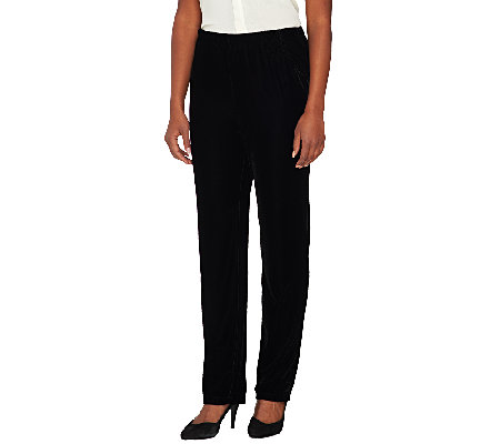Denim & Co. Stretch Velvet Side Pocket Pull-on Pants