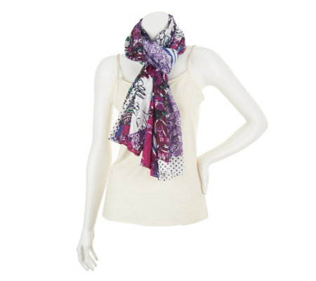 George Simonton Signature Print Textured Sheer Scarf