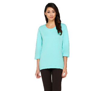 Denim & Co. 3/4 Sleeve Knit Top with Hi-Low Hem - A230903