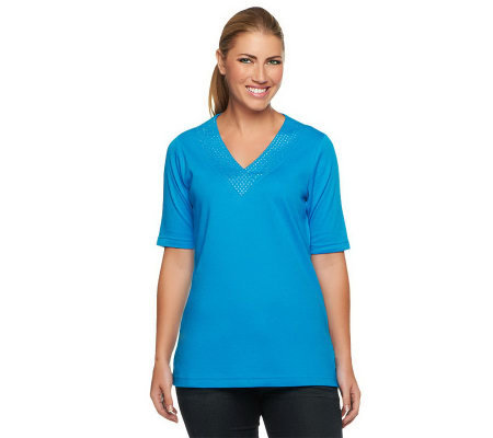 Quacker Factory Rhinestone V-neck Elbow Sleeve T-shirt