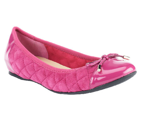 Isaac Mizrahi Live! Quilted Ballet Flats with Patent Trims