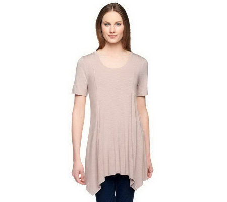 """As Is"" LOGO by Lori Goldstein Slub Knit Asymmetrical Hem Top"