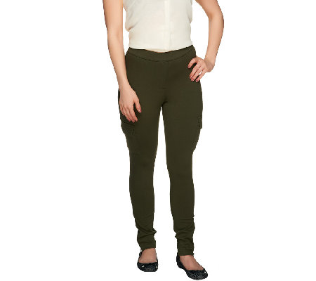 Lisa Rinna Collection Cargo Pocket Leggings with Ankle Zippers