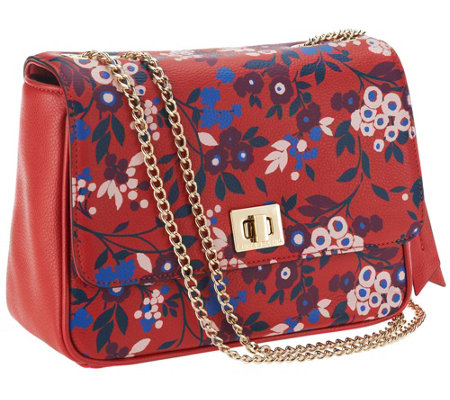 Emma & Sophia Printed Pebble Leather Rosy Shoulder Bag