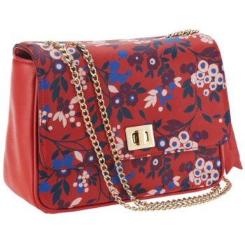 Emma & Sophia Printed Pebble Leather Rosy Shoulder Bag