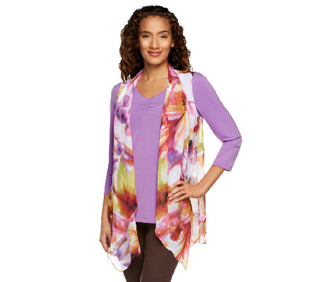 """As Is"" Susan Graver Printed Chiffon Vest w/ 3/4 Sleeve Liquid Knit Top"