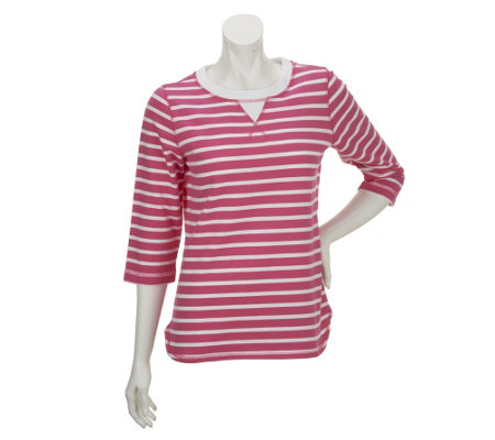 """As Is"" Denim & Co. Active French Terry High-Low Hem Striped Top"