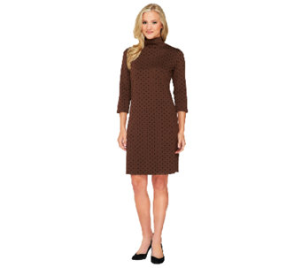 Liz Claiborne New York Flocked Dot Ponte Knit Dress - A259603