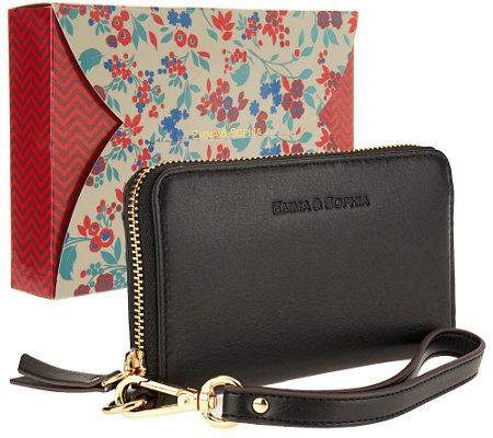 Emma & Sophia Leather Zip Wristlet