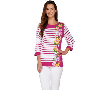 Bob Mackie's 3/4 Sleeve Floral and Stripe Printed Knit Top - A263603