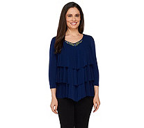 Susan Graver Artisan Liquid Knit Chevron Tiered Top w/ Embellishment - A263803