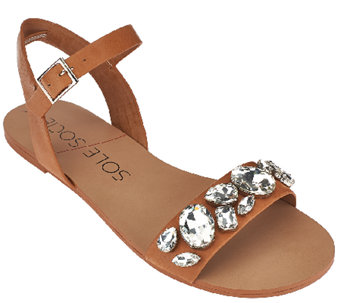 Sole Society Leather Quarter Strap Sandals - Gemma - A265503