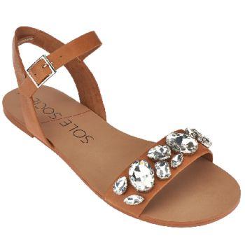 Sole Society Leather Quarter Strap Sandals - Gemma