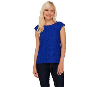 Linea by Louis Dell'Olio Textured Short Sleeve Top - A265603