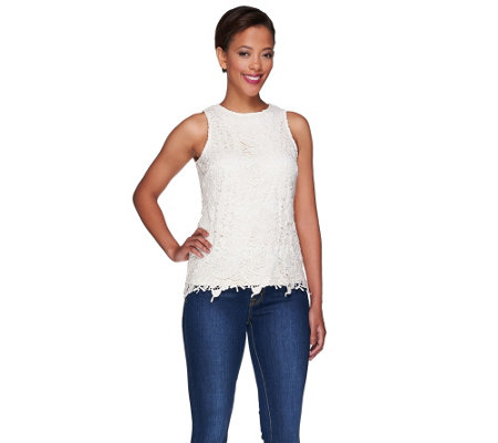 G.I.L.I. Sleeveless Venice Lace Top with Jewel Neckline
