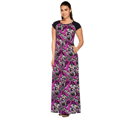 Linea by Louis Dell'Olio Reg Tropical Print Maxi Dress