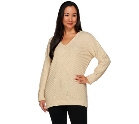 Lisa Rinna Collection Diagonal Stitch Sweater with Ribbed Sleeves
