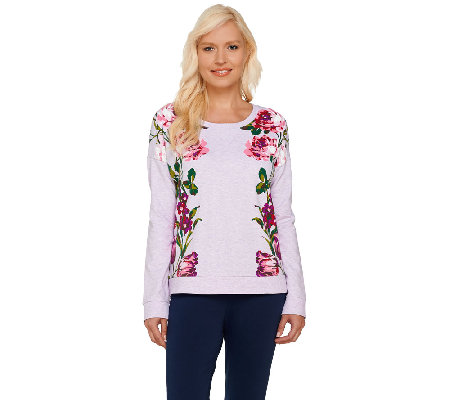 Isaac Mizrahi Live! Engineered Floral Printed Sweatshirt