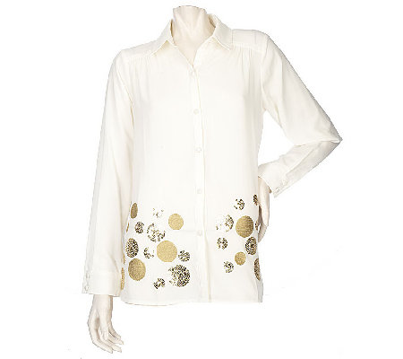 """As Is"" Susan Graver Cool Peach Button Front Blouse w/Circle Motif"