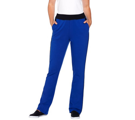 Denim & Co. Active Color Block French Terry Lightly Bootcut Pants