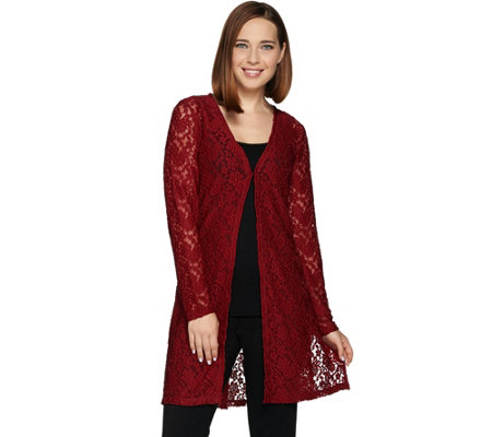 Susan Graver Stretch Lace Long Sleeve Open Front Long Cardigan