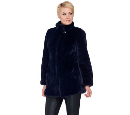 Dennis Basso Faux Mink Coat with Stand Collar