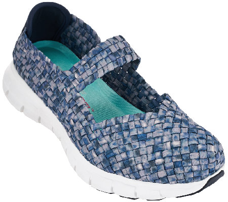 """As Is"" Skechers Woven Mary Janes with Memory Foam - Good Vibes"