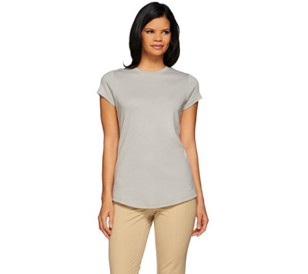 Isaac Mizrahi Live! Essentials Shirt Tail Hem T-Shirt