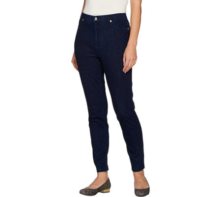Isaac Mizrahi Live! Regular Knit Denim Ankle Jeans w/ Zipper Detail
