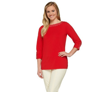 Susan Graver Weekend Cotton Modal Roll Tab Sleeve Top - A274503