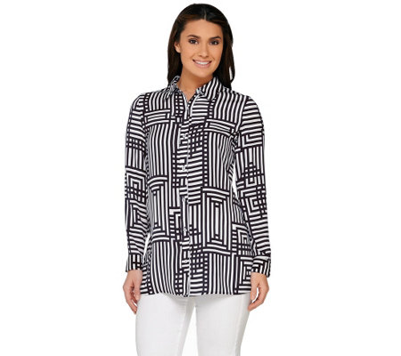 """As Is"" Susan Graver Printed Stretch Woven Button Front Shirt"