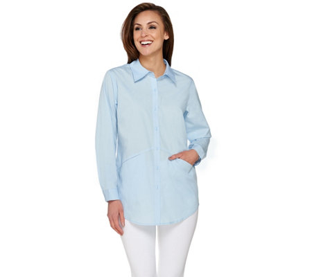 Joan Rivers Boyfriend Shirt with Pocket Seam Detail